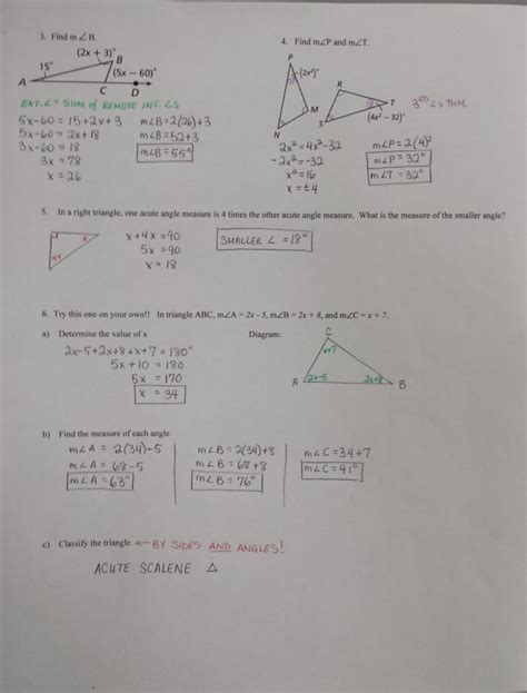 skills practice angles  triangles worksheet answers