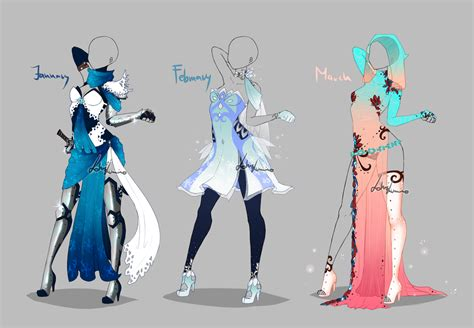 Outfit design - Months - 1 - closed by LotusLumino on DeviantArt