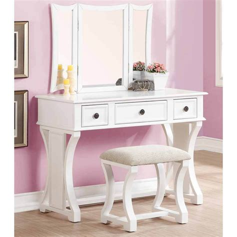 Makeup Vanity by Tri Folding Mirror Curved Lines Vanity Makeup Table Bench