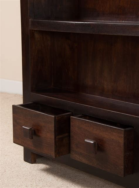 walnut stained mango wood thin bookcase 2 shelves