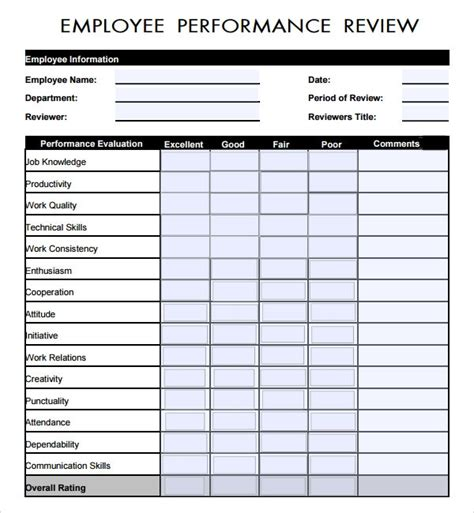 employee review templates   word pages