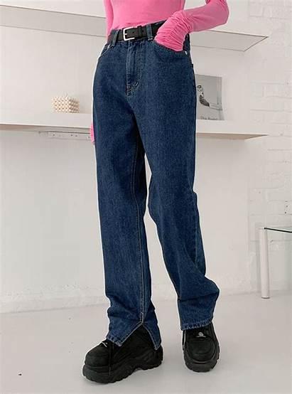 Slit Loose Leg Jeans Side