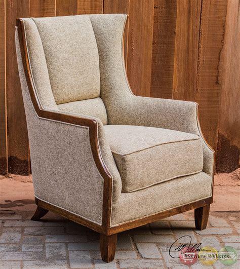 burbank tweed wood frame wing back chair 23613