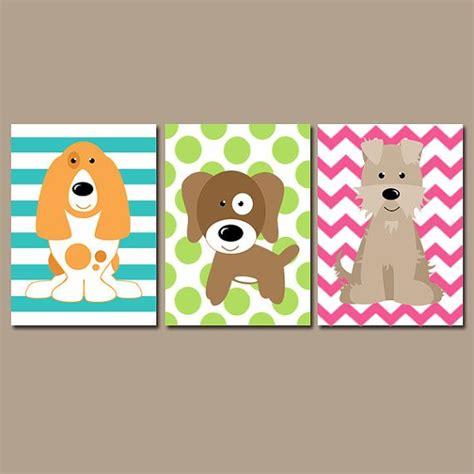 puppy dog wall art canvas  prints baby girl nursery