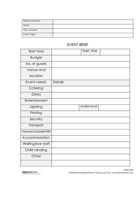 event template our foolproof event briefing template