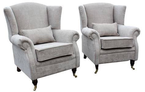 2 X Wing Chairs Fireside High Back Armchair Velluto