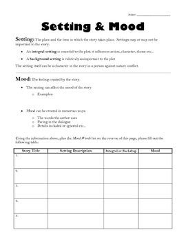 setting and mood mini lesson by ms g s teaching ideas tpt