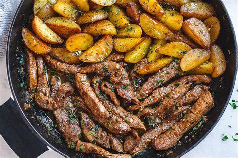 garlic butter steak and potatoes skillet eatwell101