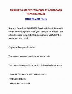 Mercury 4 Stroke Efi Model 115 Outboard Repair Manual By
