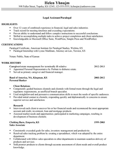 combination resume sle assistant paralegal by