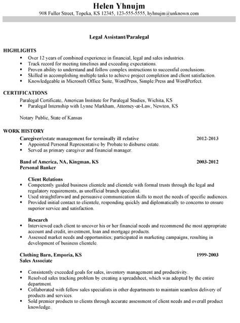 resume sle paralegal resume sle free