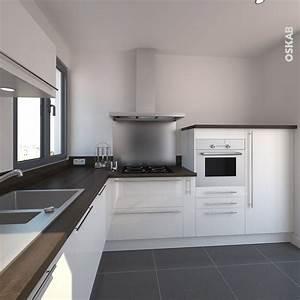 petite cuisine blanche et bois moderne et epuree With cuisine blanche plan de travail bois