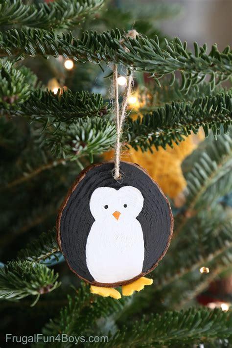 wood slice penguin ornaments
