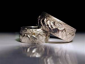 hand crafted men39s or women39s hand carved mountain wedding With mens carved wedding rings