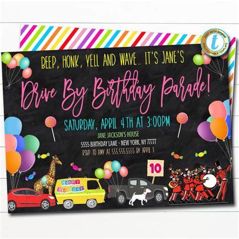 Drive By Birthday Parade Invite TidyLady Printables