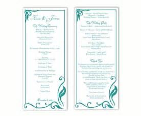 wedding ceremony bulletin wedding program template diy editable text word file