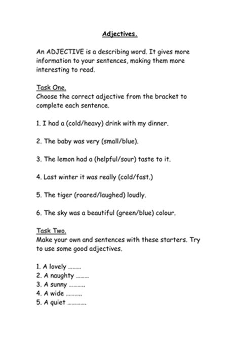 year 2 worksheets adjectives by ahorsecalledarchie