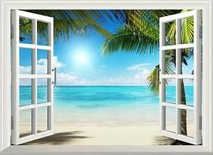Poster Mural 3d : 3d sunshine beach window view removable wall art stickers vinyl decal home decor beach mural ~ Teatrodelosmanantiales.com Idées de Décoration