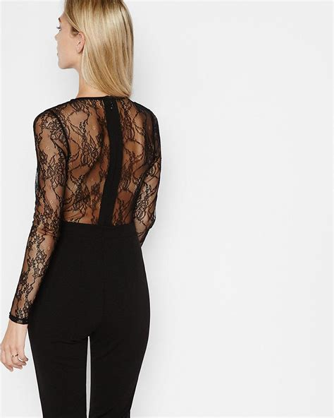 express jumpsuits express black lace back and sleeve jumpsuit in black lyst