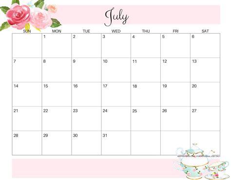 printable july calendar   template magic