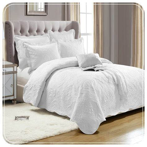 Plain White Cotton Bedspread & Two Pillow Shams Imperial