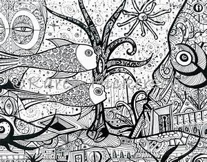 Karen Hickerson Pen and Ink Drawing Outsider Art Abstract ...