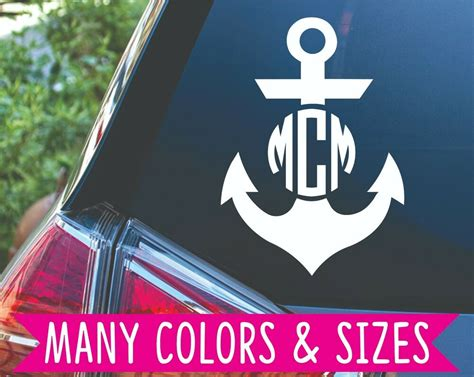 personalized anchor monogram initial circle decal sticker ebay