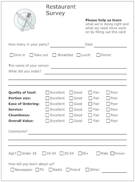 restaurant questionnaire template