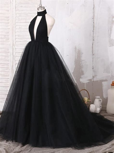 black halter prom dresstulle prom ball gownvogue evening