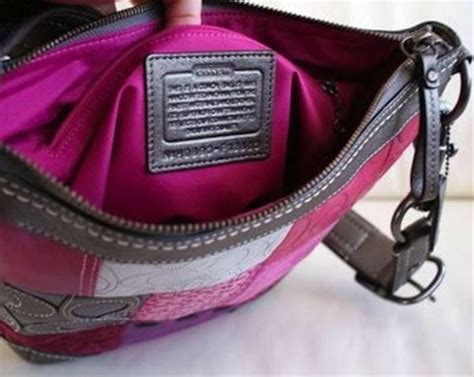 coach  holiday patchwork purse multi color pink silver white burgundy violet purple