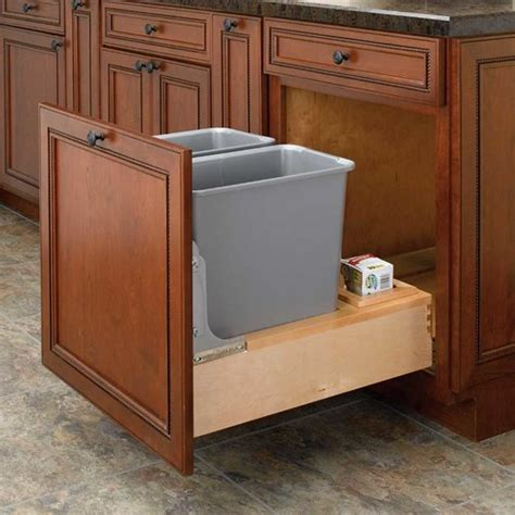 cabinet trash can rev a shelf trash pullout 30 quart wood 4wcbm
