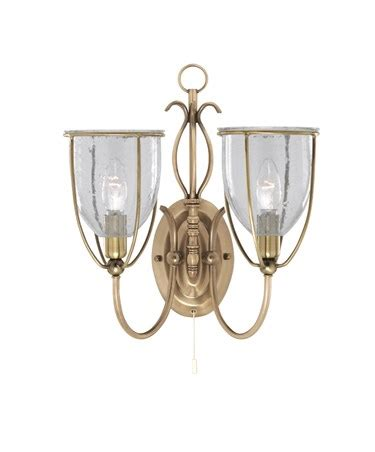 searchlight silhouette double wall light brass glass pull cord