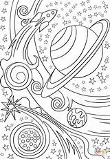 Coloring Space Pages Trippy Planets Rocket Printable Drawing Colorings sketch template