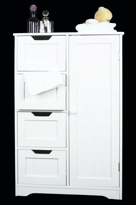 White Cabinet With Drawers by White Wooden Cabinet 4 Drawers Cupboard Bathroom Or