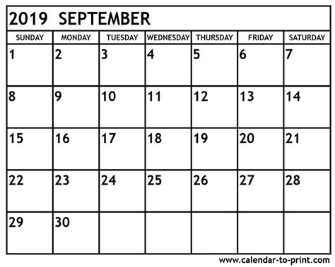 september calendar cute week printable calendar