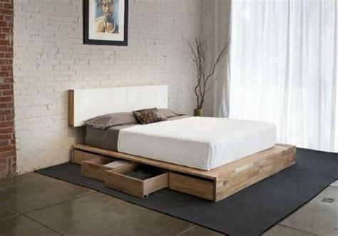 Simple Bedroom Furniture With Wooden Platform Bed Frame