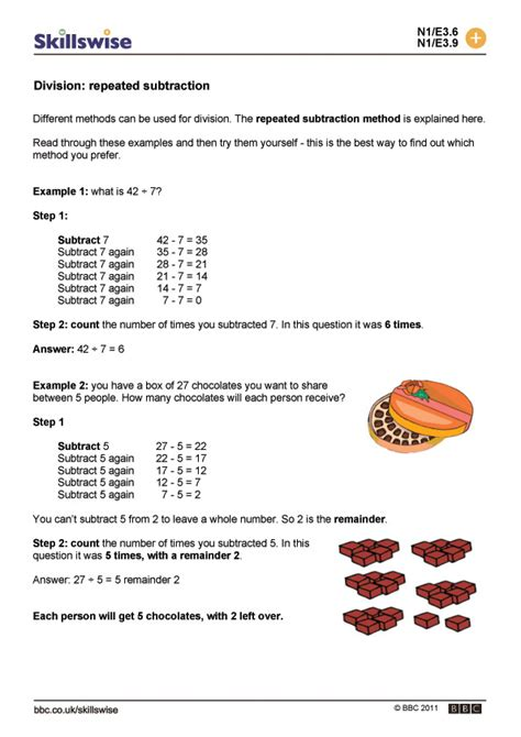 repeated subtraction word problems worksheets