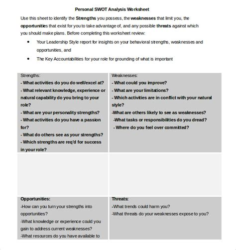 Swot Analysis Worksheet Template by Personal Swot Analysis Template 13 Free Word Excel