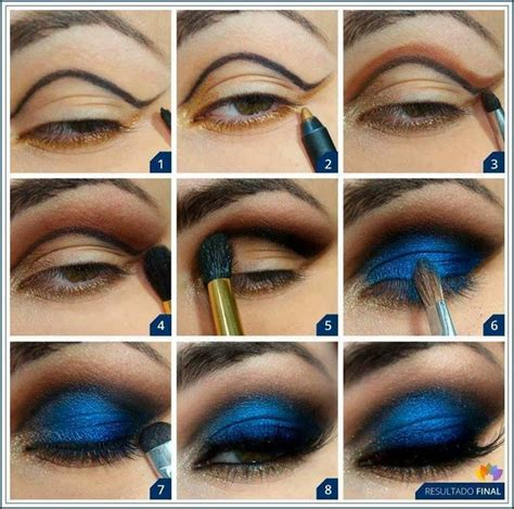 gorgeous blue  gold eye makeup   tutorials