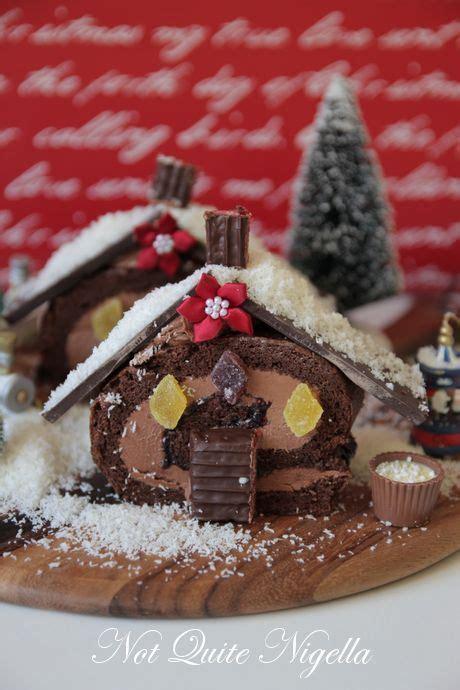 swiss roll christmas cottage cake recipe    nigella