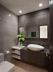 comment creer une salle de bain contemporaine 72 photos With salle de bain faience grise