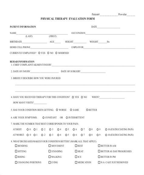 Tmj Physical Therapy Evaluation Template by Physical Therapy Evaluation Form Heart Impulsar Co