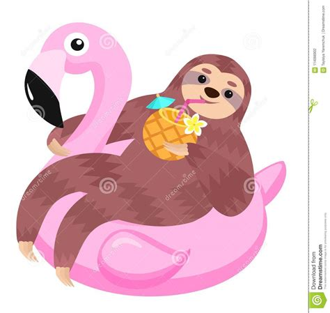 sloth  flamingo inflatable float vector illustration