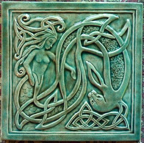 decorative handmade ceramic tile handcrafted relief