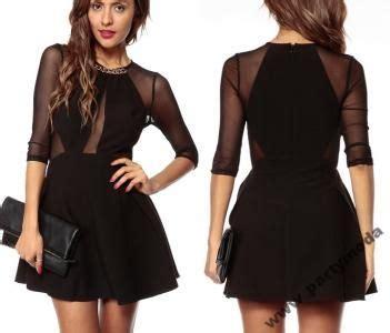 Rozkloszowana mała czarna sukienka siateczka 21633 ...