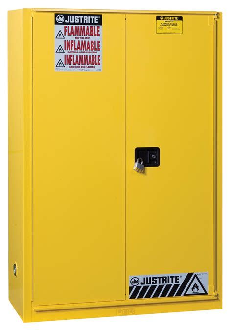 flammable safety cabinet 45 gal yellow 1 sliding self door 65 quot x 43 quot x 18 quot 2 shelves yellow