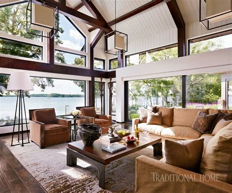 lake home with modern elegance traditional home