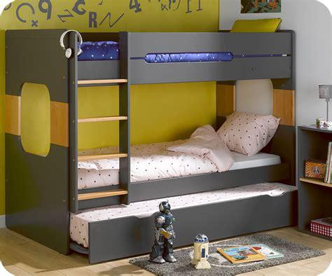 lit superposé avec lit superposé spark gris et hêtre 90x200 cm avec sommier