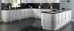 curved units with gloss white and grey top lighting a bit With best brand of paint for kitchen cabinets with purple and grey wall art