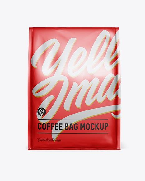 Sample design is not included in the download file. Matte Metallic Coffee Bag - Front View Pouch Mockups
